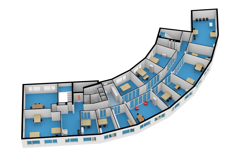 Kantoor (niet standaard) gemeubileerd 3D